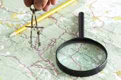 Making measurements on the map Royalty Free Stock Images