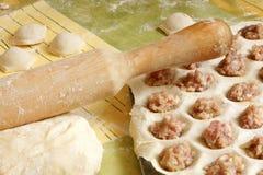 Making meat dumplings Royalty Free Stock Photos