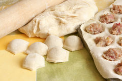 Making meat dumplings Royalty Free Stock Photography