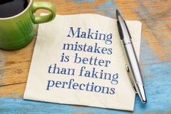 Making mistakes is better than faking perfections Royalty Free Stock Photos