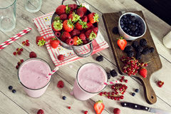 Making Mixed Berry Yogurt Smoothies Stock Image