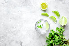 Making mojito on stone background top view Stock Photo