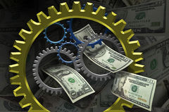 Making money. Several gears placed together with money in the background Stock Photos
