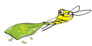 Making money. Cartoon Bee pulls a bag with money. Vector illustration Royalty Free Stock Images