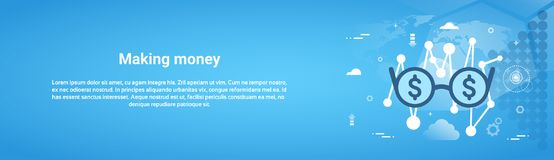 Making Money Business Concept Horizontal Web Banner With. Copy Space Flat Vector Illustration Stock Photography