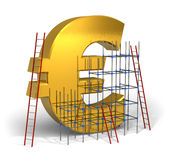 Making money concept. Golden Euro sign with scaffold and ladders isolated on white background Stock Photos
