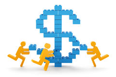 Making money concept. 3d figures putting toy blocks together to form a dollar sign Royalty Free Stock Images