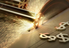 Making Money  -  Conceptual - Table saw cutting dollar signs. 3d render with motion blur and selective focus Stock Photos