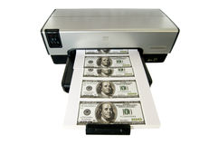 Making Money at Home. Money Printed on a Desktop Home Printer Stock Photography