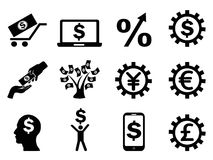 Making money icons set Royalty Free Stock Images
