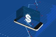 Making money on mobile phone, digital currency and electronic online banking concept. Mobile smart phone with currency sign and ra stock illustration