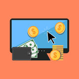 Making money online concept. Flat design stylish. Royalty Free Stock Photos