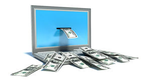 Making money online - withdrawing dollars from laptop.  Royalty Free Stock Images