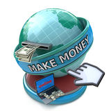 Making money online - withdrawing dollars online. Make money wor. Ds on the globe Stock Photos