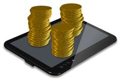 Making money PC tablet Stock Photos