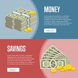 Making money and savings flyers. With paper banknotes and golden coins in cartoon style. Financial safety and cash security, banking services and online money Stock Photo