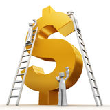 Making money teamwork concept. Making money concept teams building a golden dollar 3d illustration Stock Image