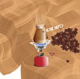Making morning coffee on a portable gas burner stock illustration