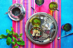Making Moroccan Mint Green Tea Stock Images
