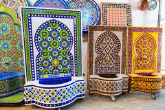 Making of Moroccan mosaic fountain in a factory Stock Photos