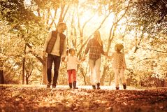 Making the most of a beautiful day. Family walking trough park together and holding hands royalty free stock photo