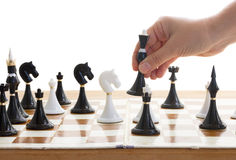 Making move in chess game Royalty Free Stock Photos