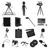 Making a movie black icons in set collection for design. Attributes and Equipment vector symbol stock web illustration. Making a movie black icons in set Royalty Free Stock Photo