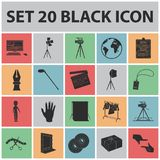Making a movie black icons in set collection for design. Attributes and Equipment vector symbol stock web illustration. Making a movie black icons in set Stock Image