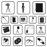 Making a movie black icons in set collection for design. Attributes and Equipment vector symbol stock web illustration. Making a movie black icons in set Stock Photo