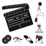 Making a movie black icons in set collection for design. Attributes and Equipment vector symbol stock web illustration. stock illustration