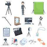 Making a movie cartoon icons in set collection for design. Attributes and Equipment vector symbol stock web illustration. Making a movie cartoon icons in set Stock Images