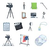 Making a movie cartoon icons in set collection for design. Attributes and Equipment vector symbol stock web illustration. Making a movie cartoon icons in set Royalty Free Stock Photos