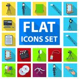 Making a movie flat icons in set collection for design. Attributes and Equipment vector symbol stock web illustration. Making a movie flat icons in set Stock Images