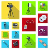 Making a movie flat icons in set collection for design. Attributes and Equipment vector symbol stock web illustration. Making a movie flat icons in set Royalty Free Stock Photography