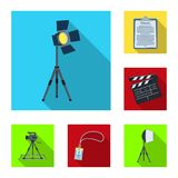 Making a movie flat icons in set collection for design. Attributes and Equipment vector symbol stock web illustration. Making a movie flat icons in set Stock Photos