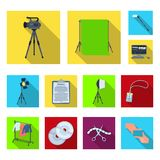 Making a movie flat icons in set collection for design. Attributes and Equipment vector symbol stock web illustration. Making a movie flat icons in set Stock Photography
