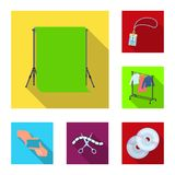 Making a movie flat icons in set collection for design. Attributes and Equipment vector symbol stock web illustration. Making a movie flat icons in set Royalty Free Stock Image