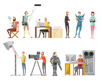 Making Movie Flat Style Set. Set of making movie including actors director cameraman sound engineer lighting operator flat style isolated vector illustration Royalty Free Stock Photos