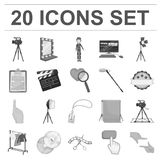 Making a movie monochrome icons in set collection for design. Attributes and Equipment vector symbol stock web. Making a movie monochrome icons in set collection Stock Photography