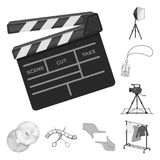 Making a movie monochrome icons in set collection for design. Attributes and Equipment vector symbol stock web. Making a movie monochrome icons in set collection Royalty Free Stock Photo