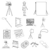 Making a movie outline icons in set collection for design. Attributes and Equipment vector symbol stock web illustration. Making a movie outline icons in set Stock Photo
