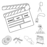 Making a movie outline icons in set collection for design. Attributes and Equipment vector symbol stock web illustration. Making a movie outline icons in set Royalty Free Stock Image