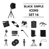 Making movie set collection icons in black. A movie camera, a floodlight, a chromakey and other equipment for the cinema.Making movie set collection icons in Stock Image