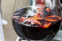 Making mulled wine for sale at country fair, closeup Royalty Free Stock Images