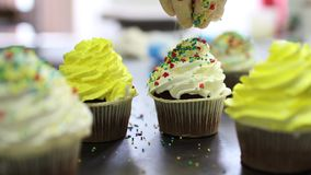 Making multicolor cupcakes for kids birthday party, Close up of hand sprinkling topping onto fresh cupcakes stock video