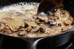 Making mushroom gravy or rue Royalty Free Stock Image
