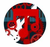 Making Music Factory Pop Rock Band Studio Songwriter Logo or Album Cover with Keyboard Guitar and Cogs in Red White and Blue. Making music factory logo for pop stock illustration
