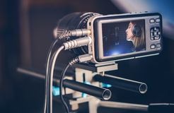 Making Music Video. Video Recording Production. Making Music Video Clip. Recording Singing Woman Stock Photos