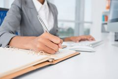 Making necessary notes Royalty Free Stock Image