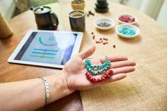 Making necklace using sample stock photo